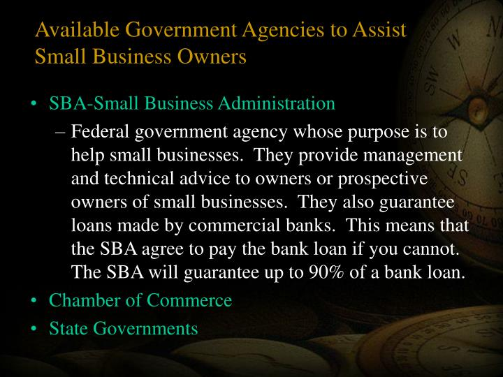 Available Government Agencies to Assist Small Business Owners