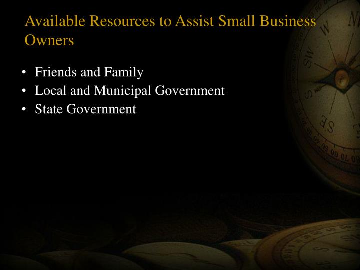 Available Resources to Assist Small Business Owners