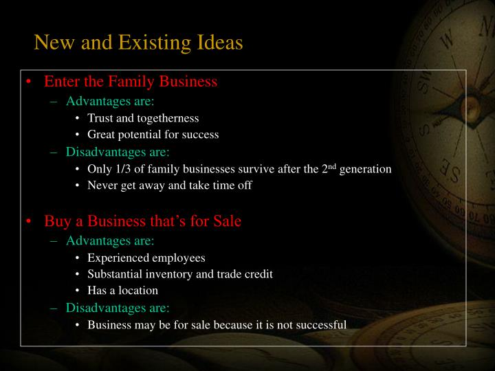 New and Existing Ideas