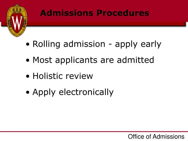 Admissions Procedures