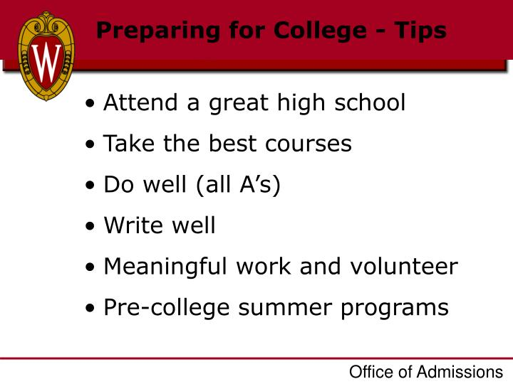 Preparing for College - Tips