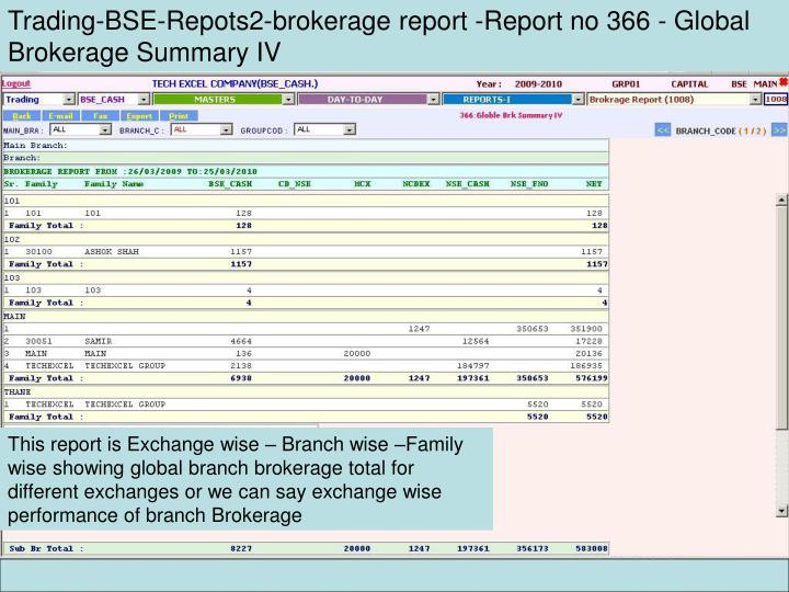 Trading-BSE-Repots2-brokerage report -Report no 366 - Global Brokerage Summary IV