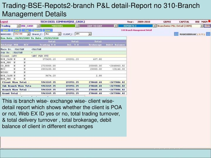 Trading-BSE-Repots2-branch P&L detail-Report no 310-Branch Management Details