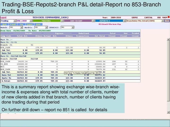 Trading-BSE-Repots2-branch P&L detail-Report no 853-Branch Profit & Loss