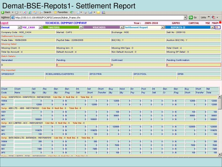 Demat-BSE-Repots1- Settlement Report