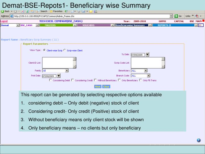 Demat-BSE-Repots1- Beneficiary wise Summary