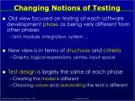 changing notions of testing