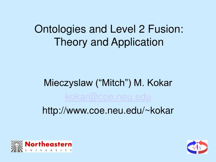 ontologies and level 2 fusion theory and application n.