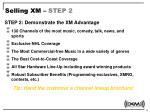 selling xm step 2
