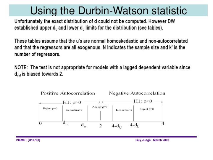 Using the Durbin-Watson statistic