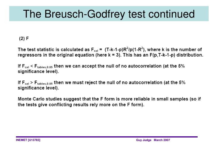 The Breusch-Godfrey test continued