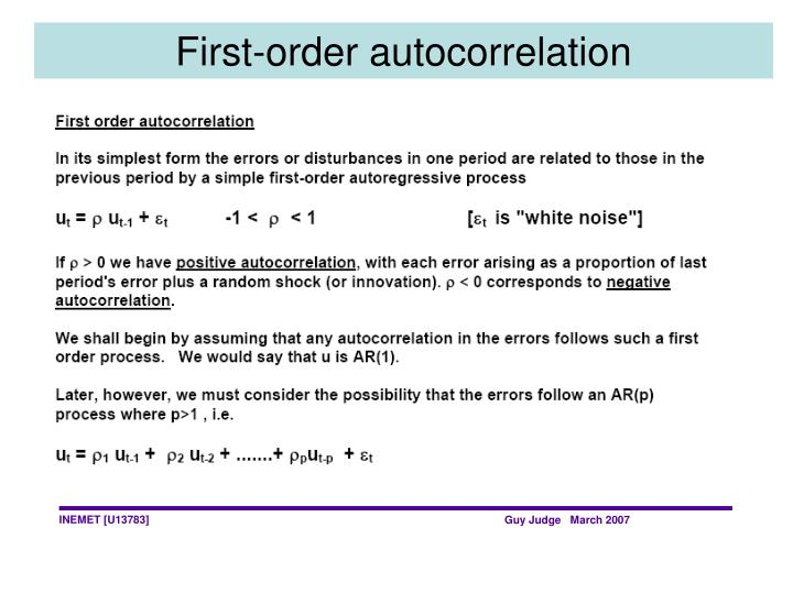 First-order autocorrelation