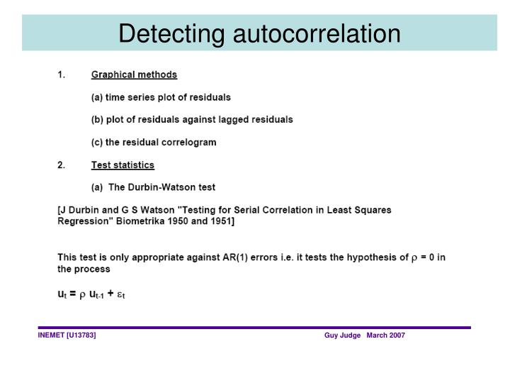 Detecting autocorrelation