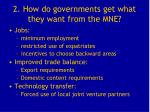 2 how do governments get what they want from the mne