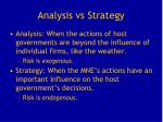 analysis vs strategy
