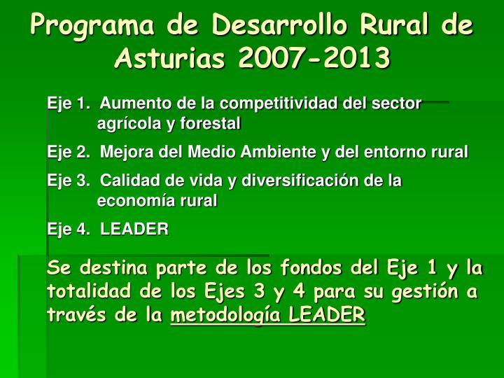 Programa de Desarrollo Rural de Asturias 2007-2013