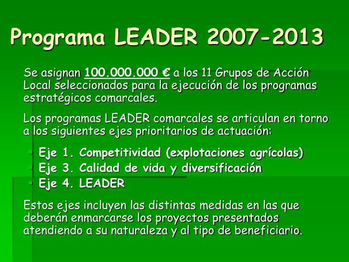 Programa LEADER 2007-2013