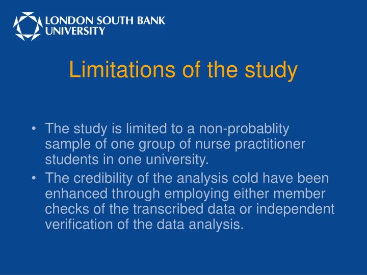 Limitations of the study