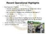recent operational highlights