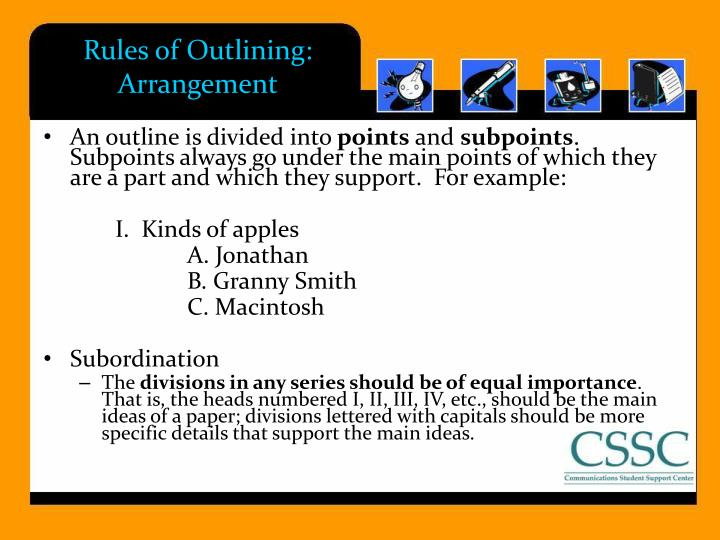 Rules of Outlining: Arrangement