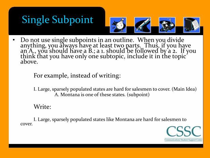 Single Subpoint