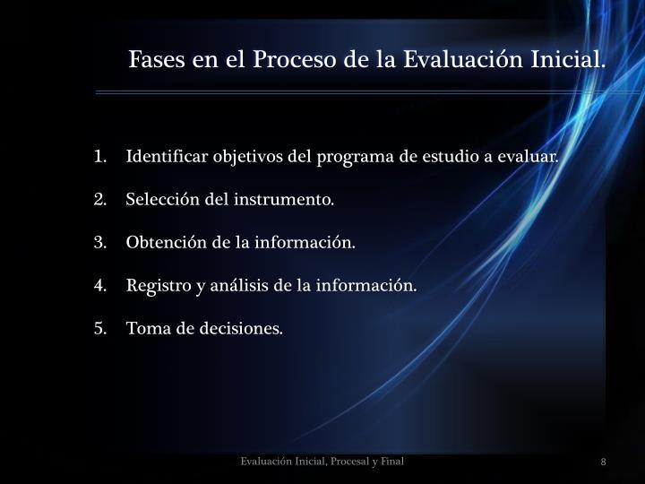 Fases en el Proceso de la Evaluación Inicial.