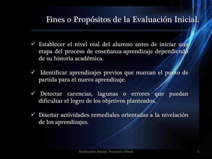 Fines o Propósitos de la Evaluación Inicial.