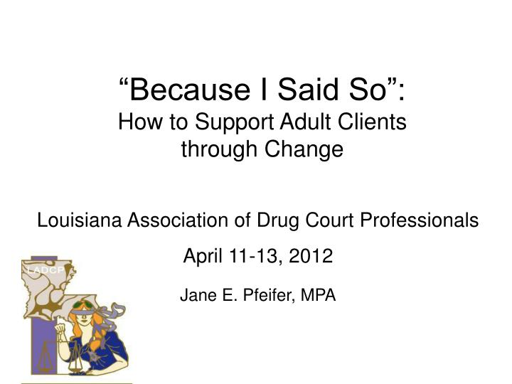 because i said so how to support adult clients through change n.