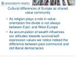 cultural differences of europe as shared value community