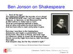 ben jonson on shakespeare