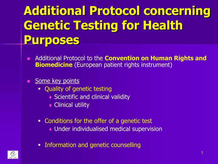Additional Protocol concerning Genetic Testing for Health Purposes