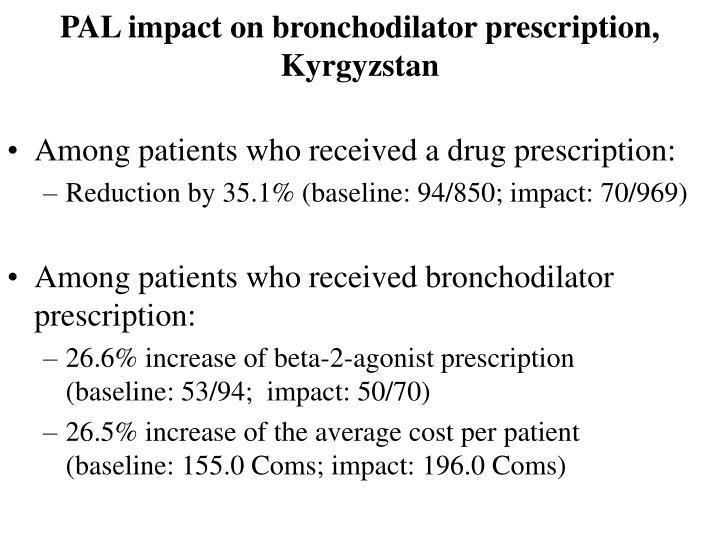 PAL impact on bronchodilator prescription, Kyrgyzstan