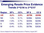 emerging resale price evidence trends 2 nd q 06 to 2 nd q 07