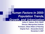 human factors in 2050 population trends growth and urbanization