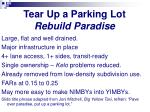 tear up a parking lot rebuild paradise