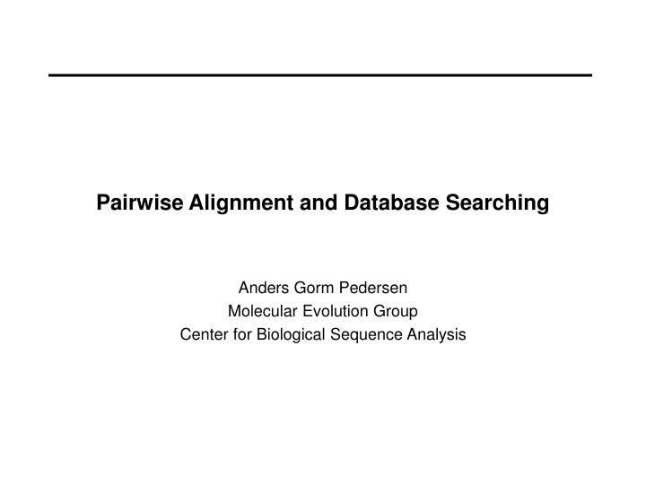 pairwise alignment and database searching n.