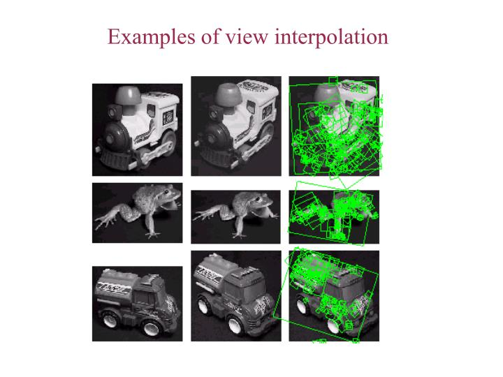 Examples of view interpolation