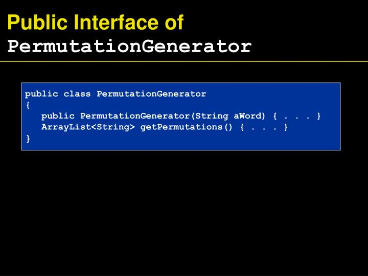 Public Interface of
