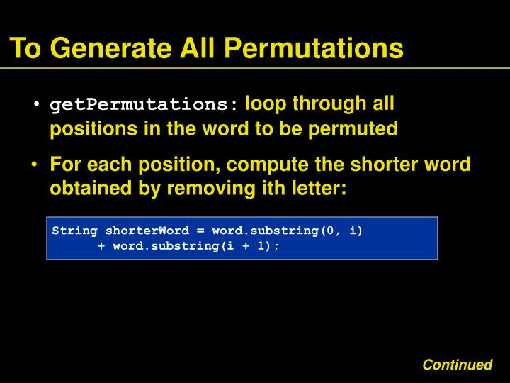 To Generate All Permutations