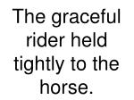 the graceful rider held tightly to the horse