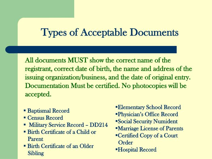 Types of Acceptable Documents