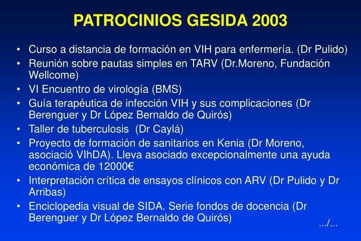 PATROCINIOS GESIDA 2003