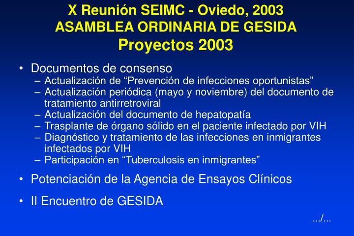 X Reunión SEIMC - Oviedo, 2003