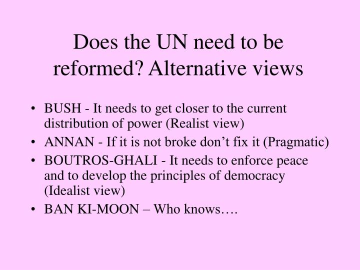 Does the UN need to be reformed? Alternative views