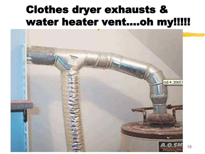 Clothes dryer exhausts & water heater vent….oh my!!!!!