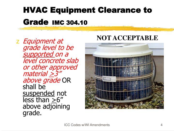 HVAC Equipment Clearance to Grade
