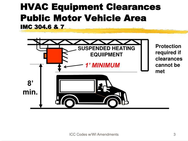 Hvac equipment clearances public motor vehicle area imc 304 6 7
