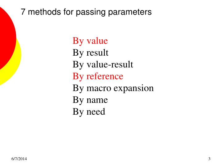 7 methods for passing parameters
