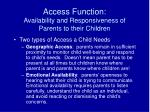 access function availability and responsiveness of parents to their children