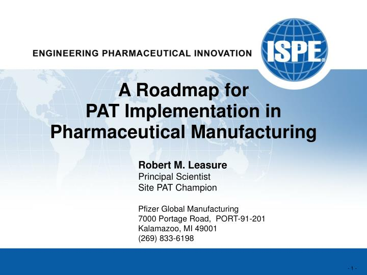 a roadmap for pat implementation in pharmaceutical manufacturing n.